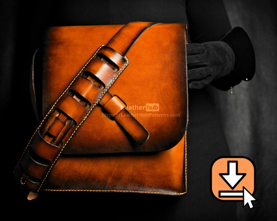 Leather bag pattern PDF template with video tutorial