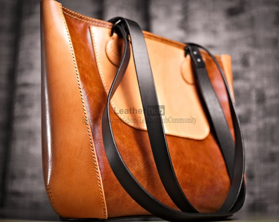 Leather tote bag pattern PDF - PDF leather bag template with video tutorial - DIY leather ladies handbag pattern for leatherwork