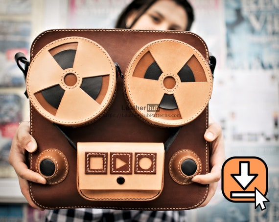 PDF pattern for a men's leather shoulder bag resembling a reel to reel player