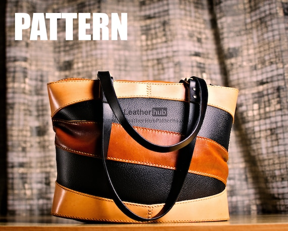 PDF template for a leather tote bag  with pattern and description