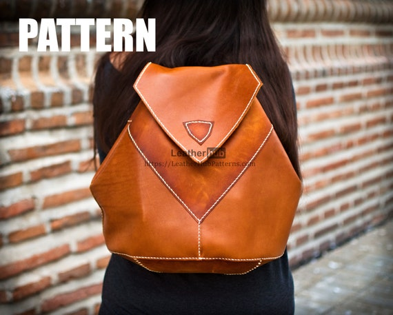 Leather pattern for a ladies leather backpack with template and guidelines