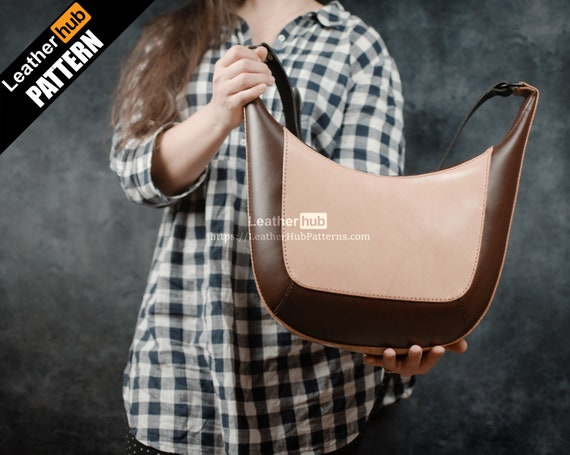 Shoulder bag pattern for leather craft PDF template and video tutorial for hand sewing / Hand made ladies bag tutorial for leather working