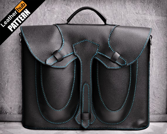 Leather bag pattern PDF - 17 inch laptop satchel - by Leatherhub