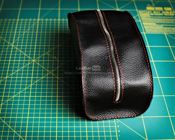 Leather Dopp bag pattern PDF - PDF leather template for making a Dopp kit bag - Toiletry bag DIY pattern and instructions for leather craft