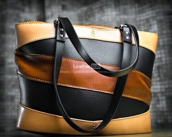 Leather tote bag pattern - Leather bag template PDF - Leather craft bag tutorial DIY - Handbag leather pattern video tutorial