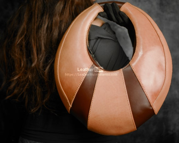 Handbag pattern for leather craft PDF purse template for hand sewing and video tutorial - The eclipse