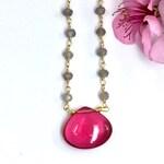 Rubelite Tourmaline Necklace on a beaded labradorite chain, Hot Pink Tourmaline Pendant, Tourmaline Necklace, Birthday Gift