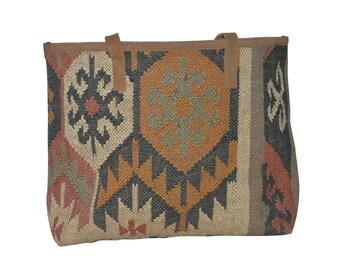 401119ba495 Vintage Boho geweven Jute zak van de schouder, tas met lederen handgrepen,  kleurrijke gestreepte schoudertas, grote zak, tas van de zomer, strandtas,  ...