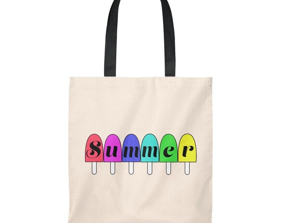 Summer Popsicles Canvas Tote Bag, summer tote bag, pool bag, beach bag, canvas tote, women's bag, women's tote, bags, purses, tote bag