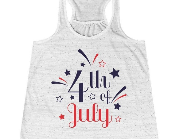 4th of July Women's Racerback Tank Top, 4th of july women's shirt, tank top for 4th of july, summer tank top, 4th of july tank top