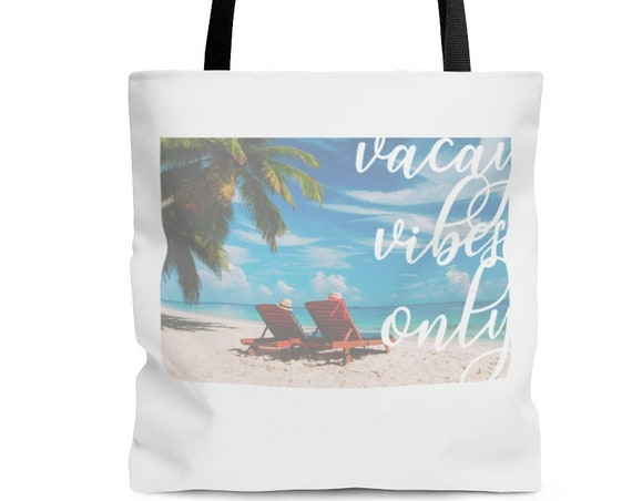 Tote bag, Vacay Vibes Only Tote Bag, Bags, Purses, Tote Bags, Vacation Bag, Beach Bag, Summer Bag, Pool bag