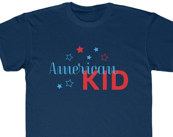 American Kid - Kids Regular Fit Tee, 4th of july kids tee, 4th of july kids tshirt, childrens shirt for 4th of july, 4th of july kids top