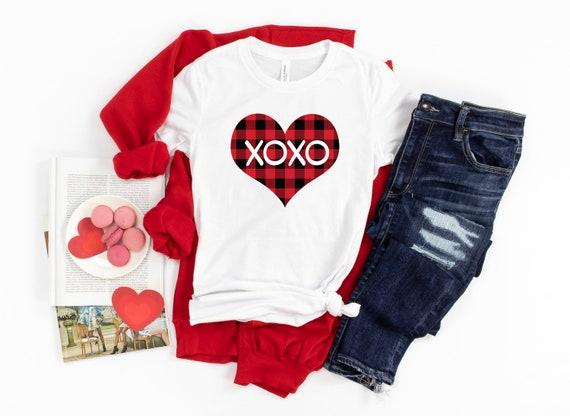 Valentine's Day tshirt, Valentine plaid xoxo heart shirt Valentines shirt, love tshirt, womens tshirt, valentines day shirt