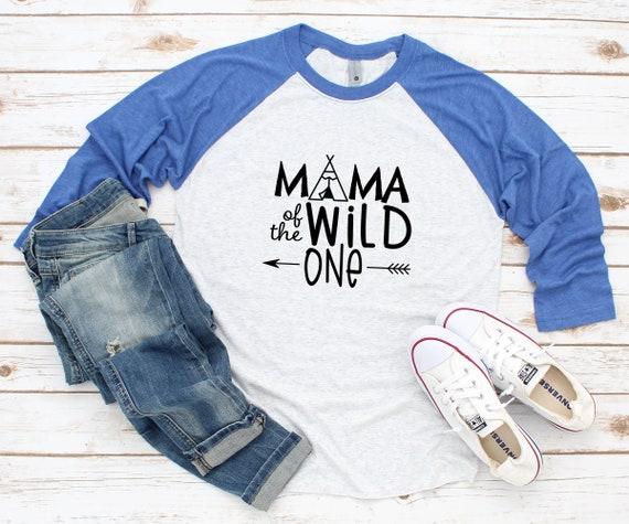 Mama of the Wild One Mama baseball raglan Unisex 3/4 sleeve Raglan Tee, Wild One birthday party first birthday baby birthday Mama