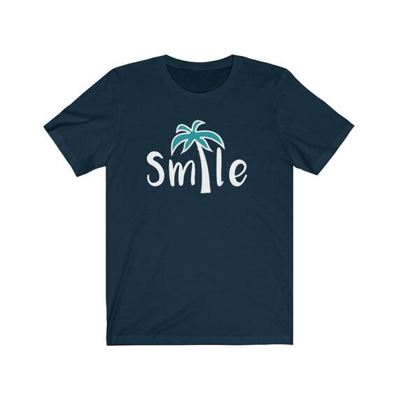 Smile Palm Tree tshirt, beach tee, womens tee, beach t-shirt, smile tshirt, smile tee, summer tshirt, summer tee, vacation tshirt