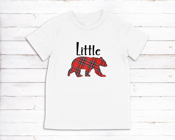 Little Bear Christmas plaid tshirt, Family tshirts, Little Bear shirt for Kids, Christmas family shirts