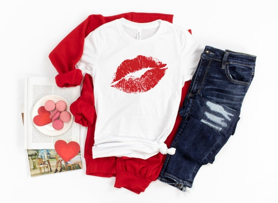 Valentine's Day tshirt red lips Valentines shirt womens tshirt for valentines day, cute Valentine's outfit red lips tshirt