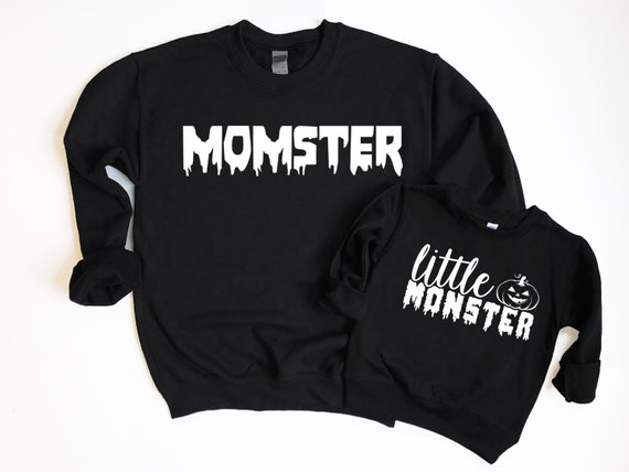 Matching Mom Kids Halloween Sweatshirts, Mommy and Me Halloween Momster Little Monster Halloween Shirts Matching Little Monster Shirt