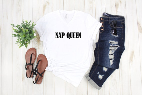 Nap Queen v-neck tshirt, women's vneck shirt