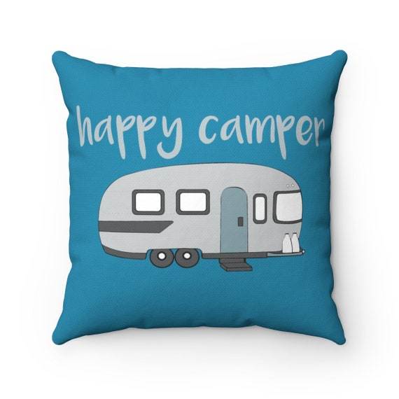 Happy Camper Pillow, camping gear, camper decor, camping pillow, RV life, RV camper pillow, camper pillows, happy camper, camper life