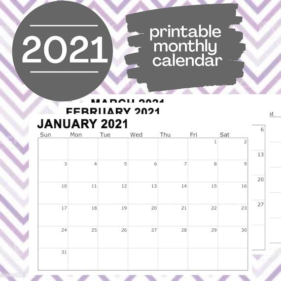 Printable Calendar 2021 Monthly Calendar, Blank Calendar, Wall Calendar, Calendar Printable, Minimal Calendar, Monthly Agenda Planner