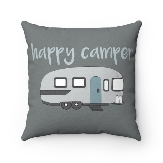 Happy Camper Square Pillow & Insert, camping life, happy camper, RV decor, home decor