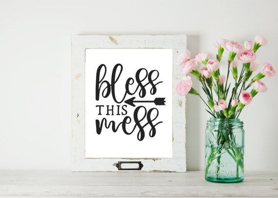 Bless this Mess digital download, printable artwork digital prints art wall art Housewarming gift, Farmhouse decor, Modern farmhouse