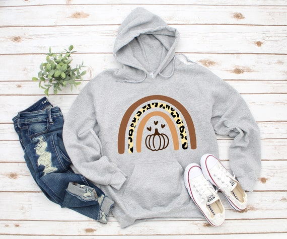 Pumpkin Rainbow hoodie, Halloween shirt, leopard print pumpkin shirt for fall, sweatshirts for women, cute shirts for fall