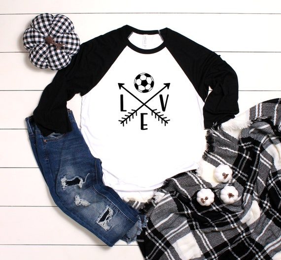 Love Soccer Unisex 3/4 Sleeve Baseball Tee, Soccer shirt, Soccer Mom shirt, Game Day Shirt, Soccer Love