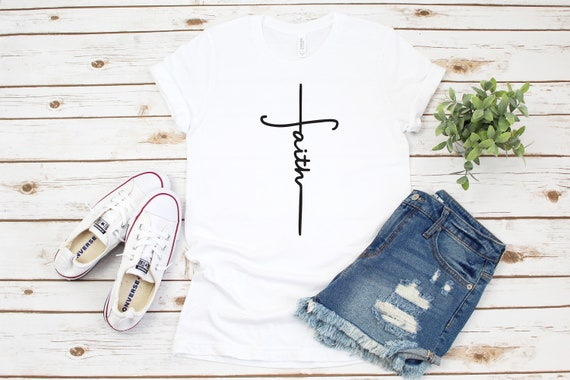 Faith Cross T-Shirt, Faith T-shirt, Christian Shirt, Faith Tee, Vertical Cross, Religious Shirt, Mother's Day Gift, religious t-shirt