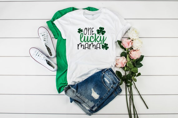 One Lucky Mama St Patrick's Day tshirt, Love Shamrock tshirt Four Leaf Clover, Lucky tshirt, Womens tshirt, St Patricks Day