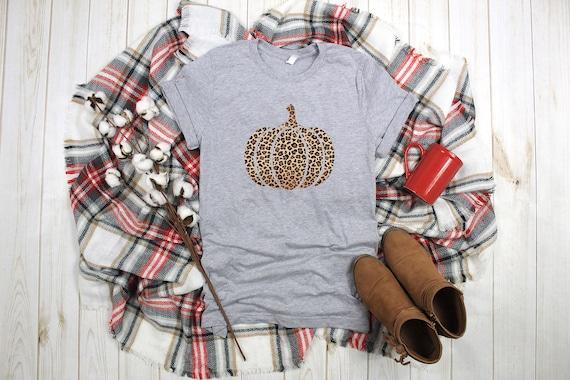 Leopard Pumpkin tshirt, womens tshirt, pumpkin tshirt, fall shirt, graphic tshirt, holiday shirt, pumpkin tee, pumpkin shirt, leopard print