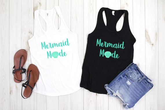 Womens Tank Top, Mermaid Mode Tank Top, Mermaid Mode Tank, Mermaid Life, Mermaid Shirt, Vacation Shirt, Beach Shirt