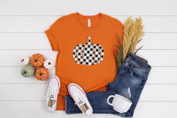 Pumpkin Buffalo Plaid t-shirt