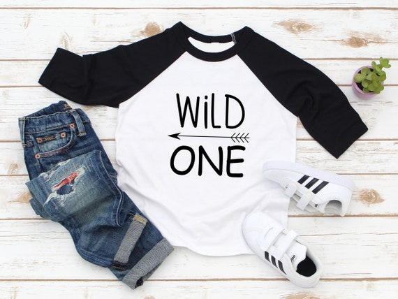 Wild One Infant Baseball tee raglan, first birthday shirt, baby boys shirt baby girls shirt 1st birthday party shirt one year birthday shirt