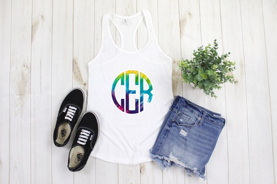 Tie Dye Monogram Tank top, Womens Racerback Tank top, cute personalized shirt, monogrammed shirt, tie dyed shirt