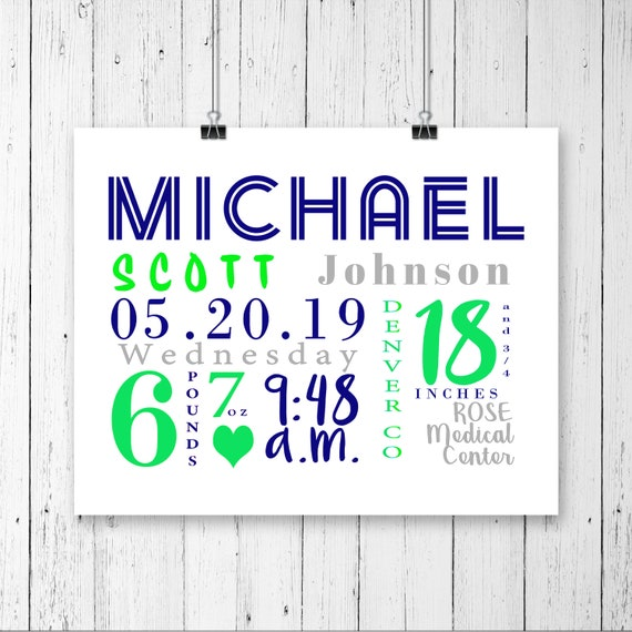 Boy Birth Announcement Stats, Birth stats print Baby boy birth announcement Birth stats wall art nursery decor Personalized nursery art