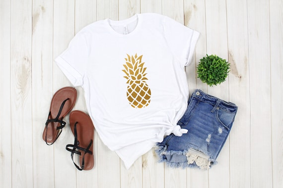 Pineapple tshirt, cute summer tshirt, womens clothing, adult unisex tees, graphic tees, summer tshirt, Bella Canvas, cotton tees