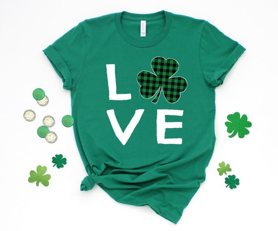 St Patrick's Day tshirt, Love Shamrock tshirt Four Leaf Clover, Lucky tshirt, Womens tshirt, St Patricks Day Womens tshirt