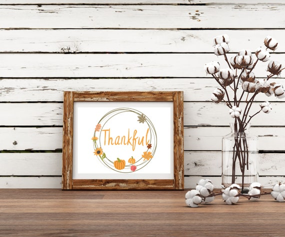 Thankful Fall Digital Print, Digital Print, Thankful Wall Art, Thanksgiving Art, Thankful Pumpkin art, Pumpkin art, pumpkin home decor