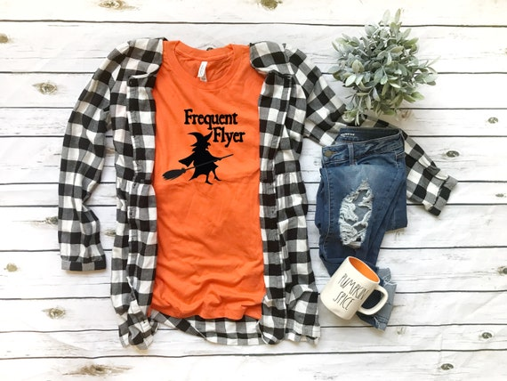 Halloween Tee, Frequent Flyer tshirt, witch tshirt, womens halloween tee, womens tshirt for halloween, witch shirt, funny hallowee tee