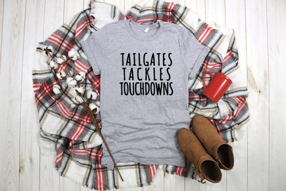 Tailgates Tackles Touchdowns Football game day tshirt for women, sunday funday football sports tshirts