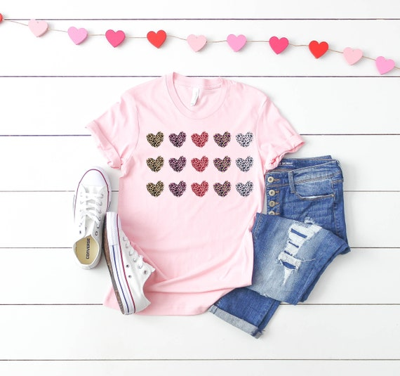 Valentines tshirt for women valentines day tee for woman, valentines day shirts for women hearts leopard print