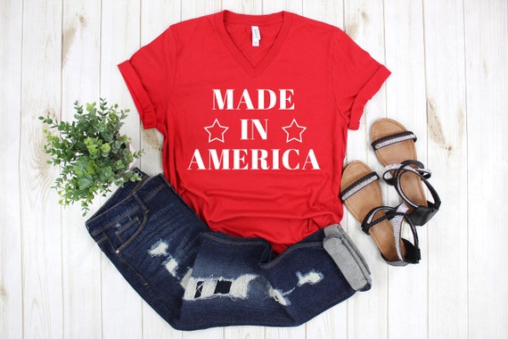 Made in America Tee, Womens USA tshirt, 4th of July tee, 4th of July shirt, Independence Day Tshirt