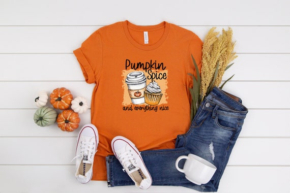 Pumpkin Spice and Everything Nice women's tshirt cute graphic printed tee seasonal fall shirt pumpkin spice trendy clothing