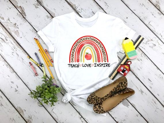 Teach Love Inspire tshirt, teacher gifts, teacher appreciation gifts, teacher shirts, rainbow shirt, teacher shirt for women