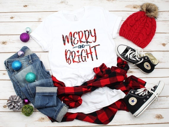 Merry and Bright Christmas tshirt, Holiday tshirt, women's Christmas shirt, holiday party shirt, Christmas tee, women's Christmas tee