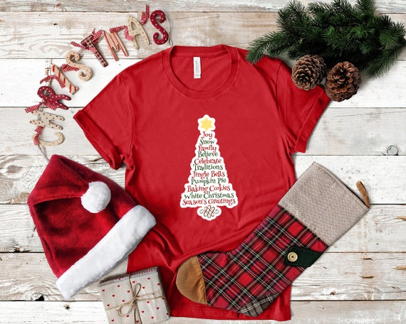 Christmas tree tshirt, Christmas shirt, women's tshirt, Christmas outfit, gift for her, cute Christmas shirt