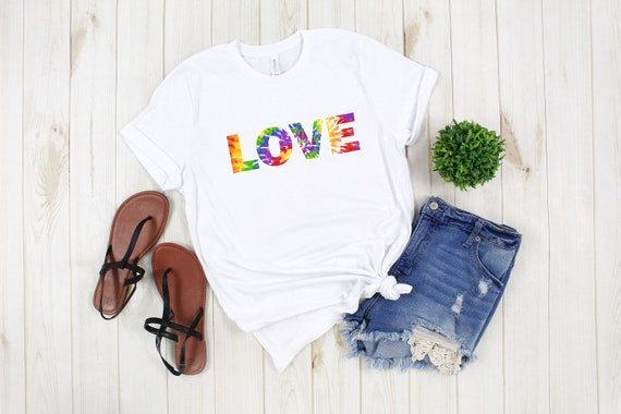 Love tie dye tshirt, cute womens tees, adult unisex graphic tee, tie dyed shirt