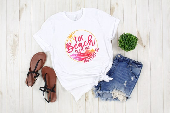 Beach is Calling and I Must Go tshirt, vacation beach shirt, summer tshirt, womens crew neck unisex size tee